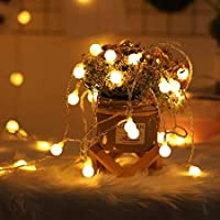 2 x 100 LED Globe String Lights Battery Operated Waterproof, 2 x 49 Ft Fairy String Light 8 Modes Dimmable with Remote…