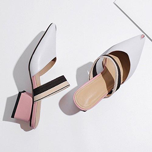 5cm pesante Sandali AJUNR alta 36 Alla ad con Pantofole Da Donna bianco tacco la scarpe Baotou Moda punta 07xr0wA