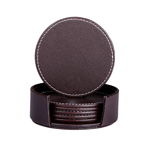 Coasters for Drinks, Thipoten Classy Leather Coasters with Holder, Protect Furniture from Water Marks Scratch and Damage(6pcs, Brown)