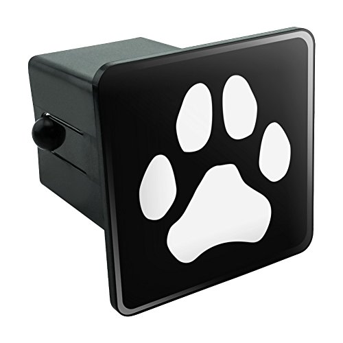 - Paw Print Dog Cat White on Black Tow Trailer Hitch Cover Plug Insert 2