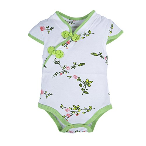BIG ELEPHANT Baby Girls'1 Piece Floral Short Sleeve Cheongsam Traditional Romper Green and White O91-6M 3-6 Months