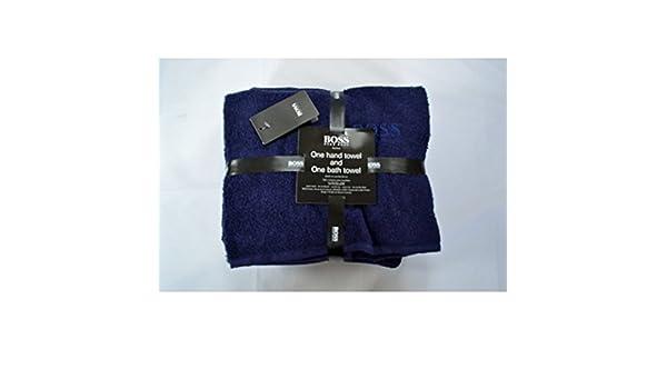Hugo Boss funda 2 piezas Baño y juego de toallas Eclipse azul marino: Amazon.es: Hogar