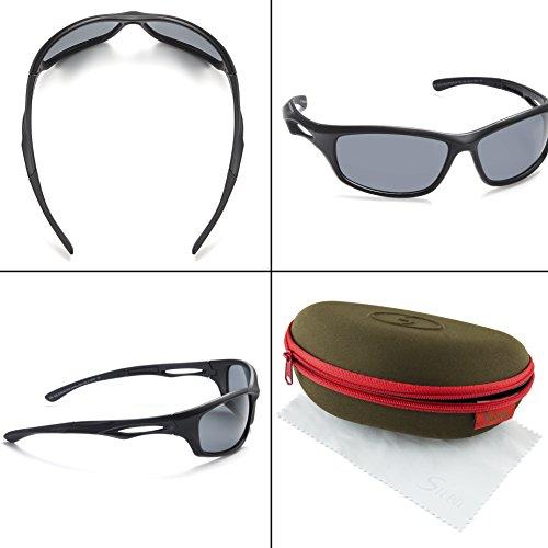 Siren Polarized Sports Sunglasses w Case TR90 Unbreakable Frame - Choose Your Color Grey Lens on Matte Black Frame