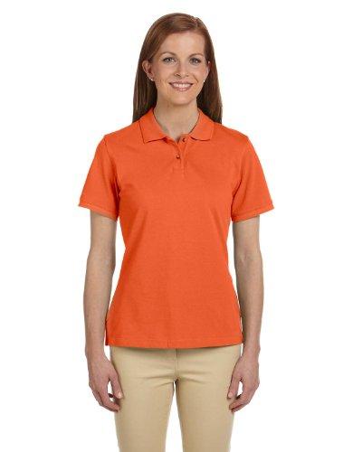 Harriton Ladies' 6 oz. Ringspun Cotton Piqué Short-Sleeve Polo S Team Orange