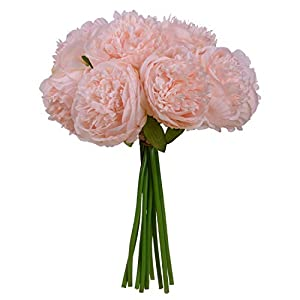 Nrpfell Vintage Peony Artificial Flowers - 2 Pack Silk Flowers Bouquet 10 Heads Peony Fake Flowers for Wedding Home Decoration 1