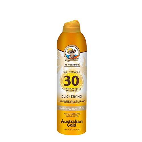 Australian Gold Continuous Spray Sunscreen, Dries Fast, Broad Spectrum, Water Resistant, SPF 30, 6 ()