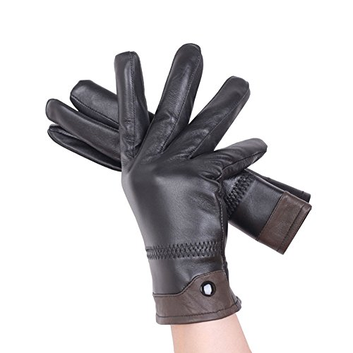 SZTARA Men's Warm Gloves Leather Winter Super Driving Glove Lining Outdoor Riding Gloves with Cashmere Lining Brown