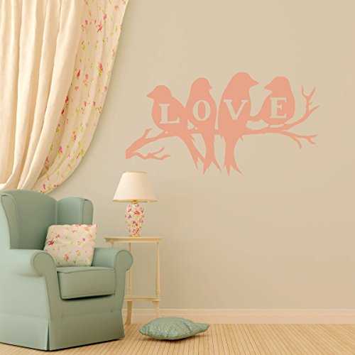 Love Bird Wall Decal - Nature Themed Vinyl Stickers - Valentines or Couples Home Decor for Living Room, Bedroom