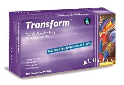 "Aurelia Transform Nitrile Glove, Powder Free, 9.5"" Length, 3.2 mils Thick, Medium (Pack of 2000)"