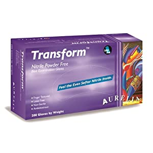 "Aurelia Transform Nitrile Glove, Powder Free, 9.5"" Length, 3.2 mils Thick, Medium (Pack of 2000) 1"