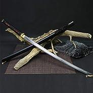 IUWEN High Carbon Steel Handmade Sword,Katana Battle Ready Japanese Samurai Sword Handmade Full Tang Katana,10