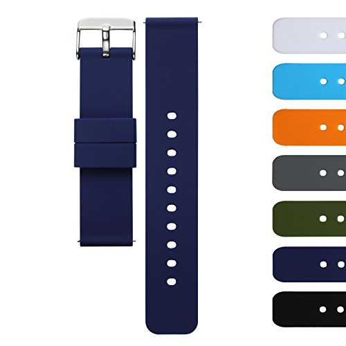 AZLAND Quick Release Silicone Replacement Wrist Watch Bands Straps for Mens Womens Navy Blue 18mm 20mm 22mm