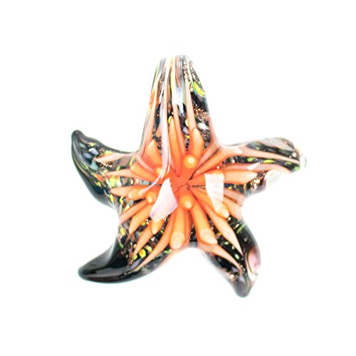 (Paracord Planet Glass Starfish Pendants Available in Various and Unique Colors (Orange