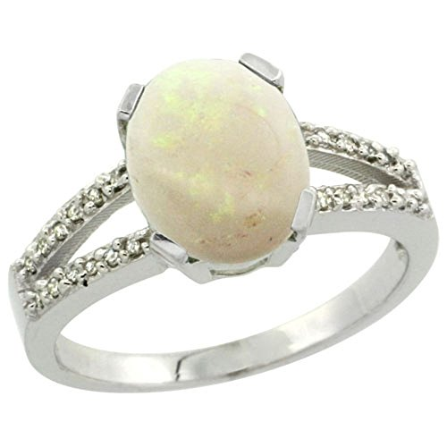 Sterling Silver Diamond Halo Natural Opal Ring Oval 10x8mm, 3/8 (Opal Wide Band Ring)