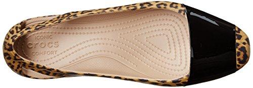 Shiny crocs Shiny Leopard Flat Leopard Leopardo Mujer Flat Sienna CrocsSienna Negro para E4x4q6c