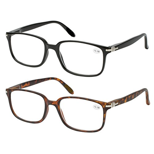 Reading Glasses Set of 2 Quality Fashion Readers Spring Hinge Glasses for Reading Men and Women +1.5