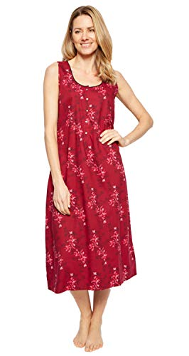 Cyberjammies 1335 Women's Nora Rose Violet Burgundy Red Mix Floral Cotton Long Nightdress