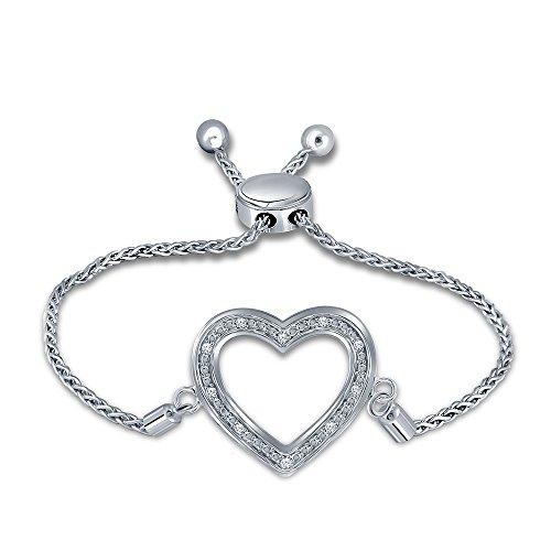 0.05ct Round White Diamond Stering Silver Adjustable Heart Love Strand Bolo Bracelet For Womens ()