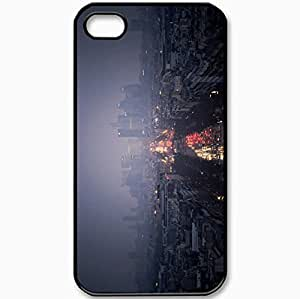 Protective Case Back Cover For iPhone 4 4S Case Lights Red Machinery Building Evening Black