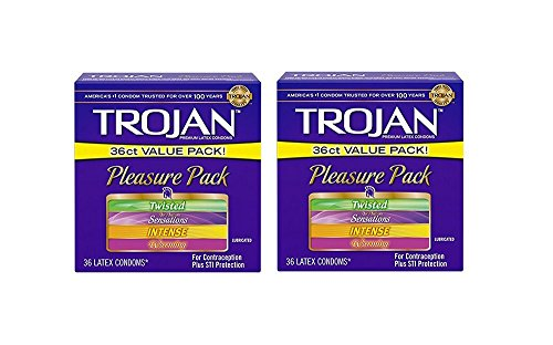 Trojan Condom Pleasure Pack Lubricated, 2Pack (36 Count) by Trojan