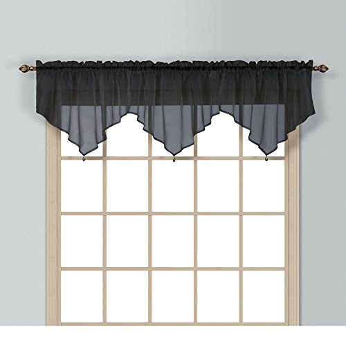 (1 Piece Coordinating Sheer Black Voile Ascot Valance, Curtain, Classic, Solid Pattern, Contemporary Style, Beautiful Design, Polyester Material, Luxury and Reach Look, Stunningly Beautiful)