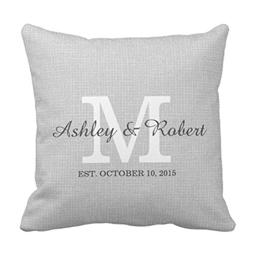 Throw Pillow Cover Black Monogrammed Gray Linen Coal White Monogram Wedding Shower Decorative Pillow Case Home Decor Square 18 x 18Inch Pillowcase