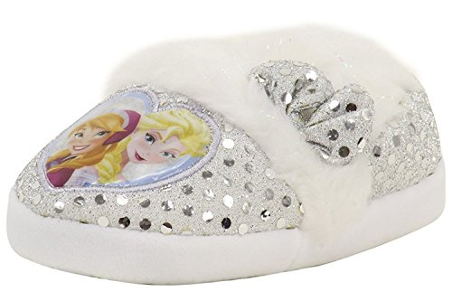 Disney Frozen Slippers (Frozen Elsa Anna Kids Aline Slippers (11/12 M Little Kid, White Silver Sequins))
