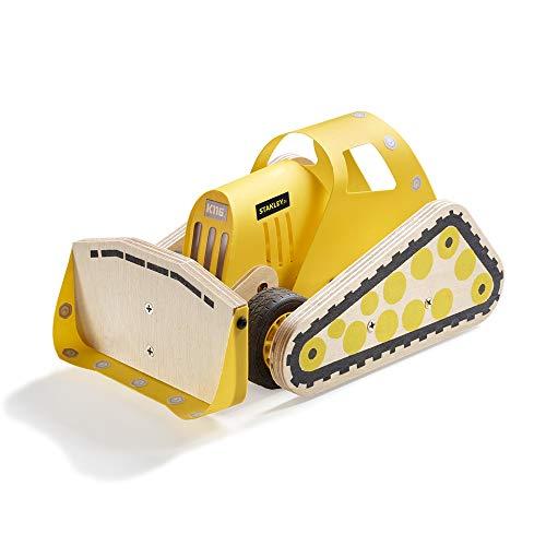 Stanley Jr DIY Bulldozer for Kids - Easy to Assemble Model Truck Kit - Bulldozer Model Kit - Wood Bulldozer Truck Toy Craft - Paint & Brushes Included