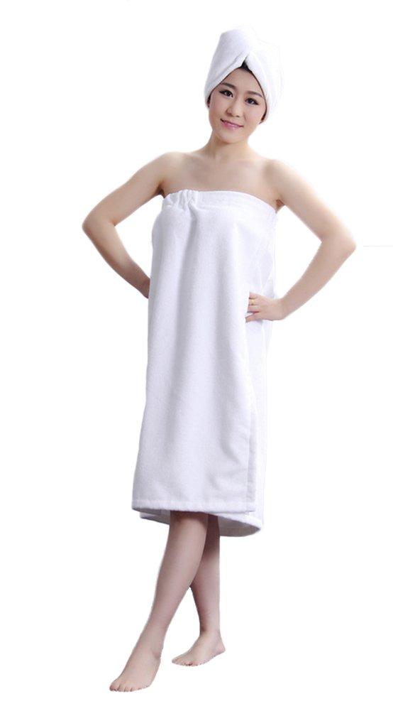 LifeWheel Women's Super Soft Absorbent Spa Towel Microfiber Bath Towel Wrap with Dry Hair Shower Cap (White) by LifeWheel