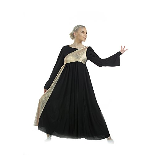 Danzcue Womens Shimmery Asymmetrical Bell Sleeve Dance Dress (Small, Black-Gold)