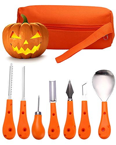 7 Piece Halloween Pumpkin Carving Kit for kids and Adults, Pumpkin Carving Tools Set Stainless -