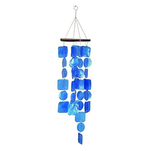 Bellaa 27918 Wind Chime Capiz Sea Blue Coastal Decor Handmade by Bellaa