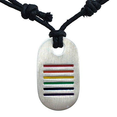 Rainbow Pride LGBT dog tag charm silver pewter pendant Black Cord (Tag Silver Pendant Charm Dog)