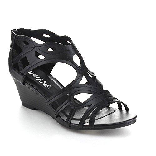 Diviana Nicki-18 Femmes Découpées Dos Sandales Compensées Noires