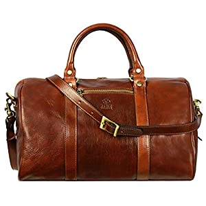 Time Resistance - Small Full Grain Leather Duffel Bag 11