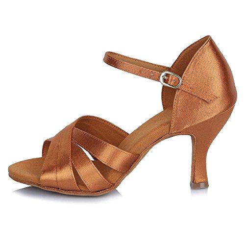 YFF Women's Latin Dance Schuhe Browm Satin Ballroom Tango Schuhe für Mädchen tanzen Salsa Party Schuhe für Damen, Braun, 5,5