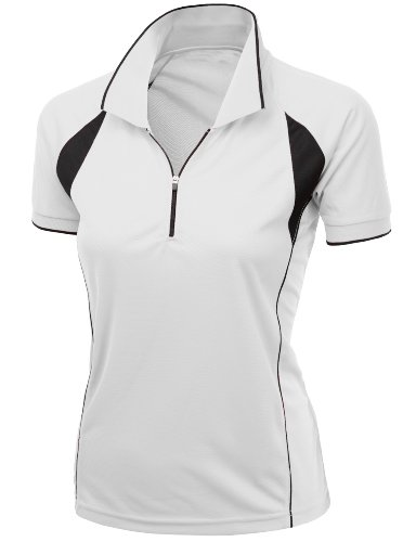 Women's Coolmax Fabric Sporty Feel Functional Short Sleeve Polo T-Shirt WHITE XL