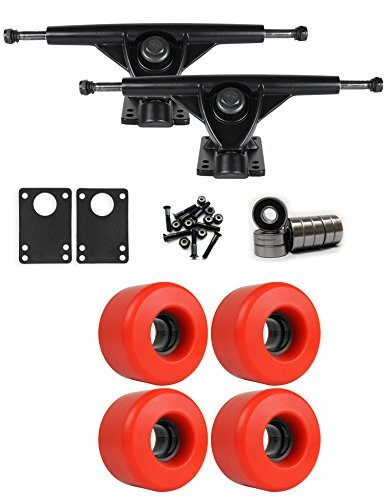 RKPブラックLongboard Trucksホイールパッケージ63 mm x 40 mm 78 a 485 Cレッド [並行輸入品]   B078WVMNBW
