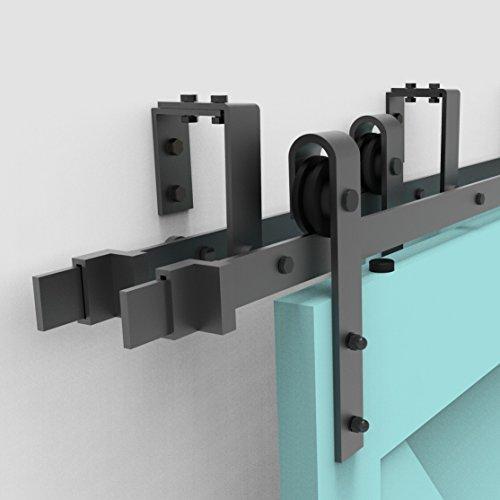 (Vancleef 4-20FT Bypass Door Kit Sliding Barn Door Hardware, 5FT Track Classic Design, New Style U-Bracket, Black Rustic, Interior and Exterior Use, Descriptive Installation Manual Included)