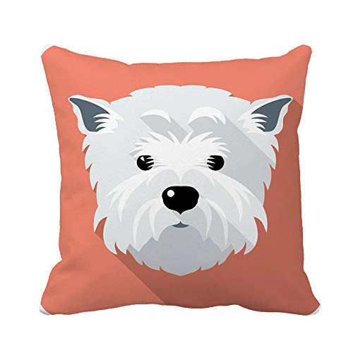 - Awowee Throw Pillow Cover Westie Dog West Highland White Terrier Face Flat Funny 16x16 Inches Pillowcase Home Decorative Square Pillow Case Cushion Cover