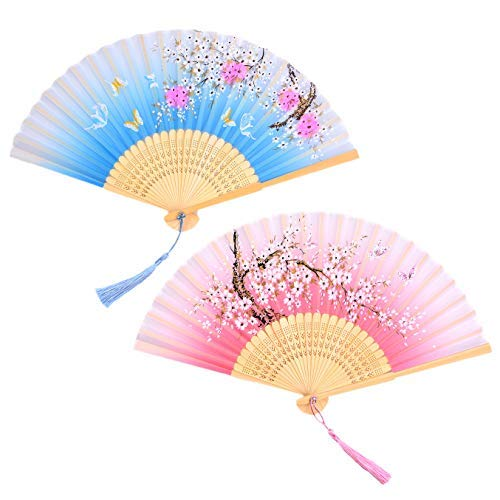 LABOTA 2 Pieces Silk Folding Fans Handheld Fans Hollowed Bamboo Fans for Home Decoration, Gifts, Wedding, Party; 21x38 cm/ 8.3x15'' (Blue Cherry Blossom & Pink Cherry Blossom Pattern