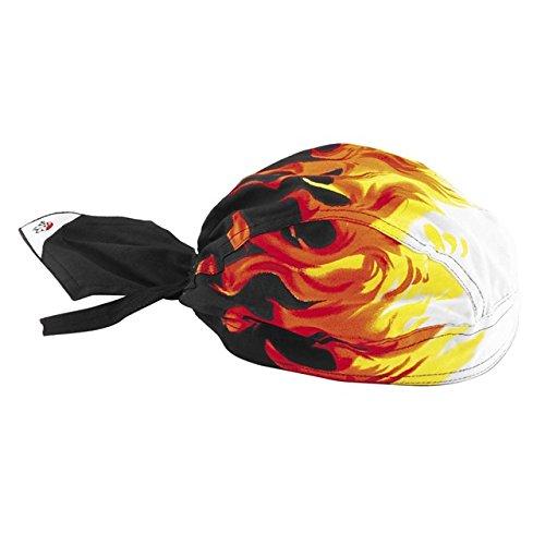 Doo Rag Black Flames Head Wrap with SWEATBAND Durag Bandana Pirate Hat