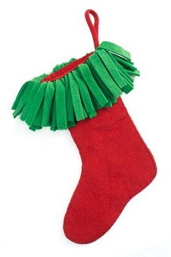 Arcadia Home S453 Hand Felted Wool Christmas Stocking, Red - Felted Wool Christmas Stocking