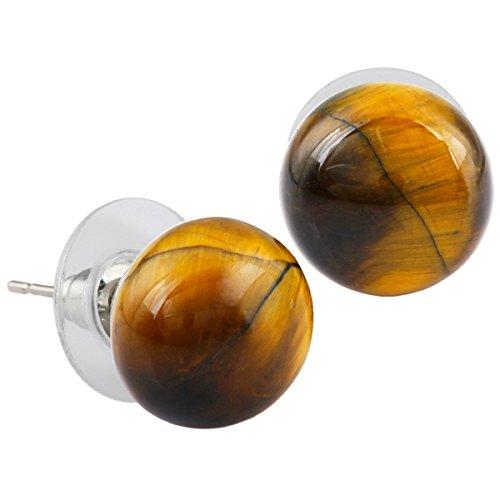 Tigers Round Crystal Earrings - SUNYIK Tiger's Eye Round Stud Earrings,Stone Post Earring 1 Pair