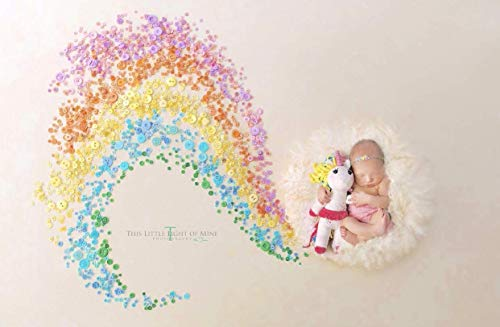 - Unicorn Birthday Gift Stuffed Animal Baby Shower Gift Plush White Pink Yellow and Blue
