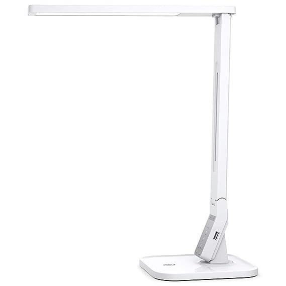 TaoTronics TT-DL02 Schreibtischlampe LED 14W 4 Farb Modi dimmbar USB Port weiss