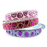 "Handcrafted ""Fusion"" Rhinestone Buckle Glitter Dog Collar – Fuchsia/Gold, Large (15″-20″), My Pet Supplies"