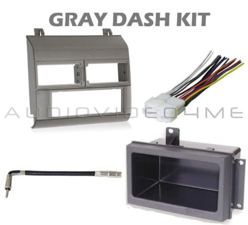 Gray Grey Dash Mount Installation Kit with Wire harness, Antenna Adapter, Storage Pocket fits Chevy GMC Dually, Tahoe, Suburban, Blazer, Pickup Trucks