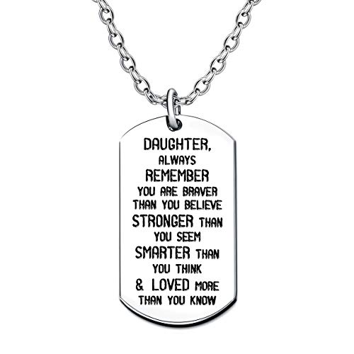 Daughter Always Remember You are Braver Strong Smarter Than You Think Key Chain Ring Stainless Steel (Daughter Necklace)