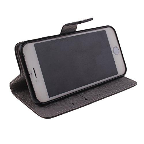 "MOONCASE iPhone 6 Case Magnetverschluss [Painted Patterns] Leder Tasche Flip Case Cover Schutzhülle Etui Hülle Schale für iPhone 6 (4.7"") -LK10"